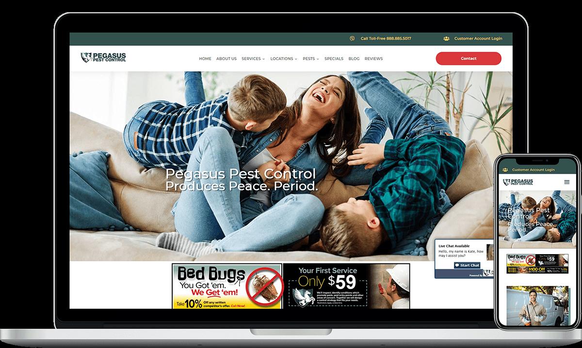 Pegasus Pest Control, Website Designed by Blue Frog Web Design