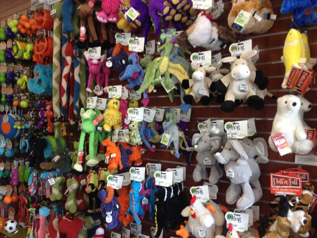 Taking a look at the dog toy selection