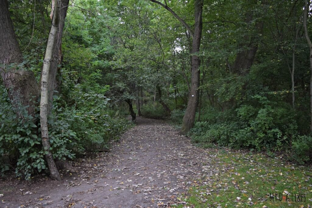 The Stone Dust Loop Trail as seen from the Penfield Road entrance to Corbett's Glen