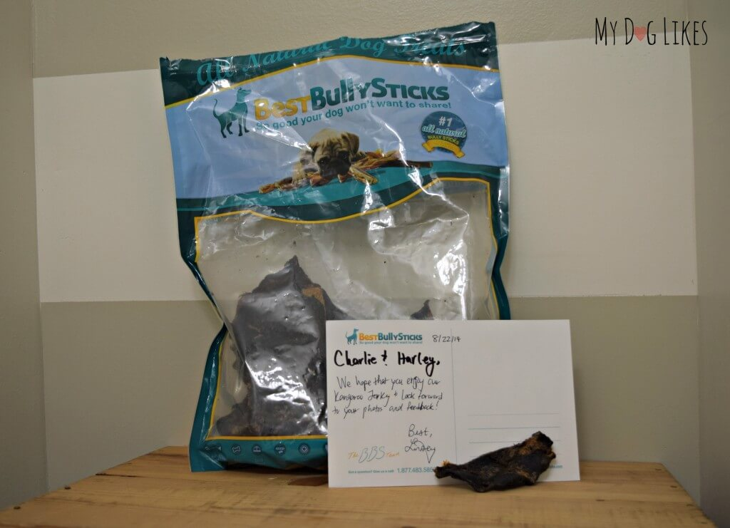 Our shipment of Kangaroo Jerky from Best Bully Sticks included a handwritten note!