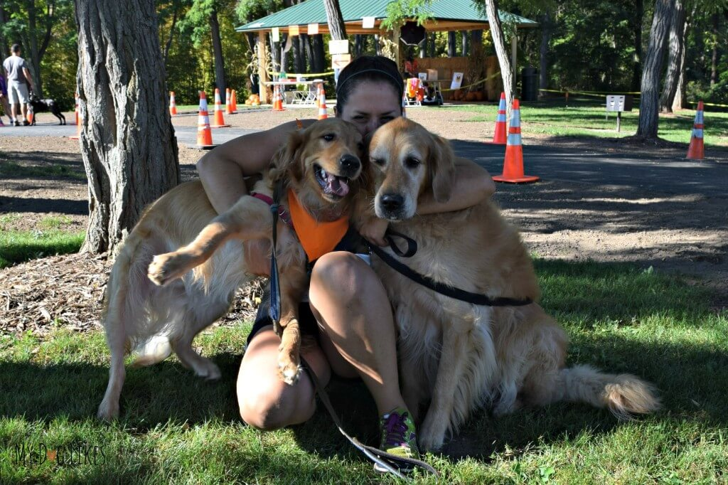Giving the Golden Boys a squeeze before the Ruff Rampage 5K
