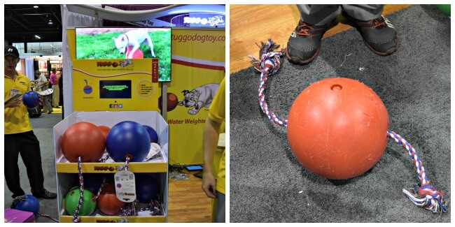 Getting a demo of the extremely durable Tuggo Dog Toy at Backer's Total Pet Expo