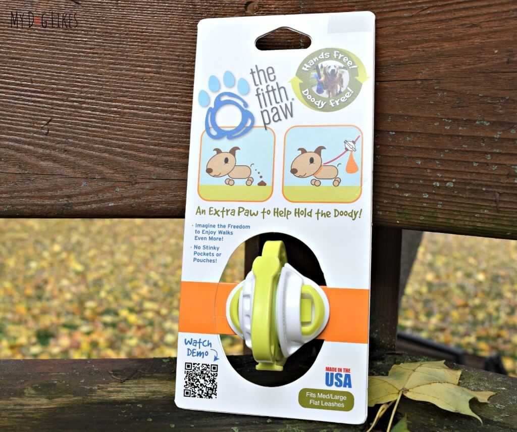 """MyDogLikes reviews The Fifth Paw Leash Attachment - """"an extra paw to help hold the doody!"""""""