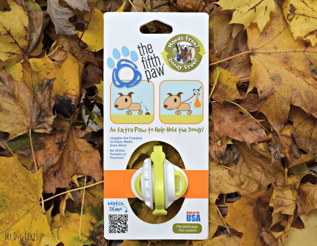 The Fifth Paw leash attachment in its packaging