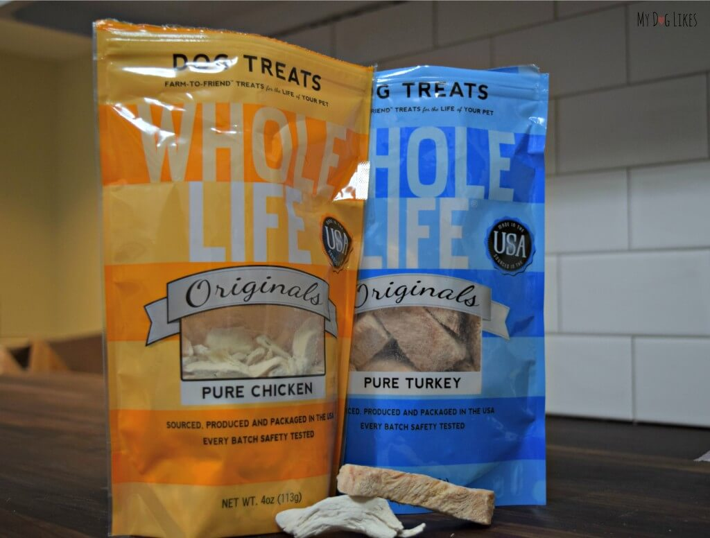 Taking a closer look at Whole Life dog treats. Note that the pieces of chicken and turkey look like real meat (thats because they are!)