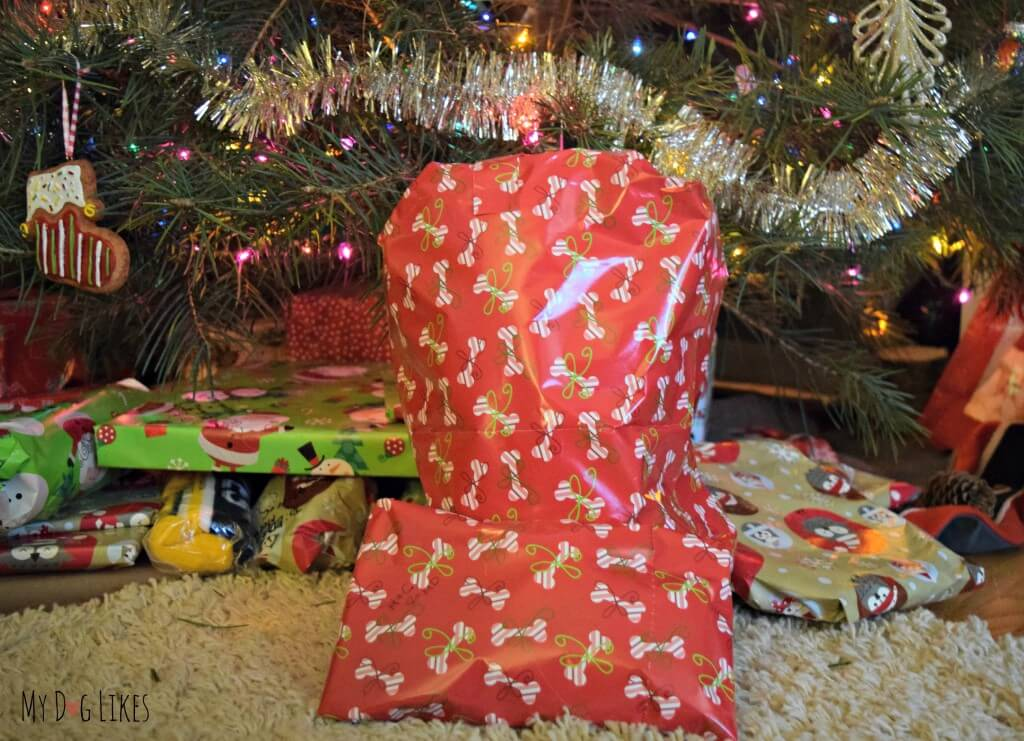 Our dog gifts wrapped in Pet Party Printz Dog Wrapping Paper! Click here to read the official MyDogLikes review!