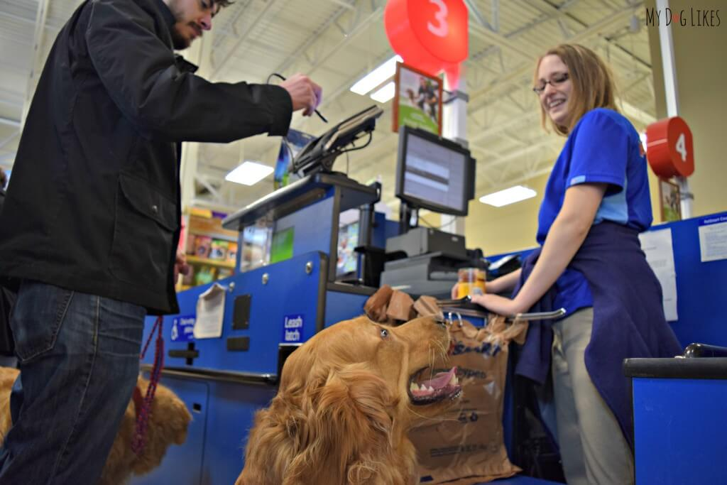 Checking out at our local Petsmart store! The boys love shopping at Petsmart where they get plenty of love and attention!