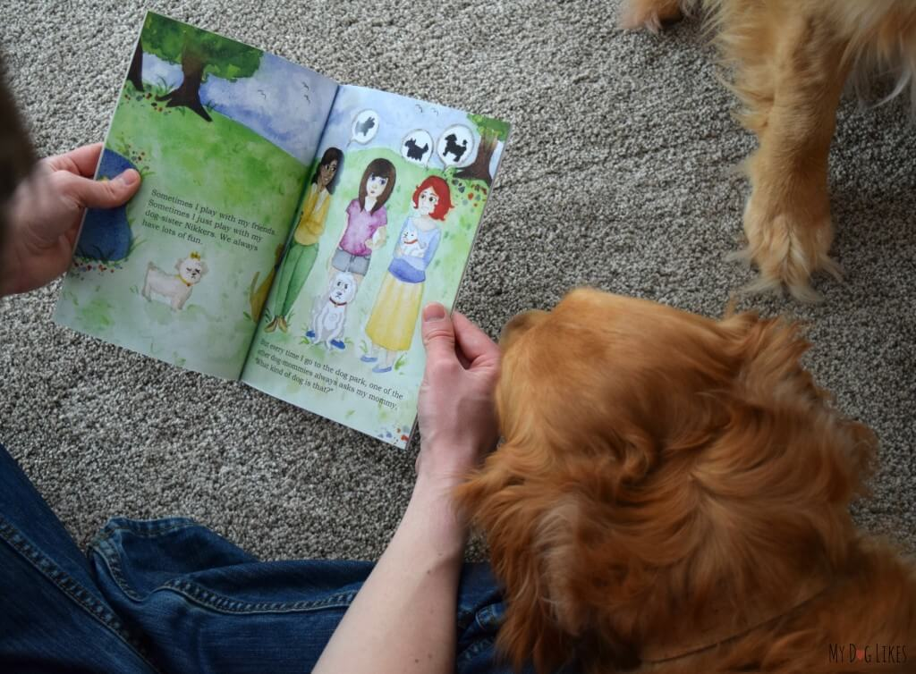 "Charlie listening carefully while we read ""What Kind of Dog Am I?"" This adorable children's book has a great message about adoption and identity"