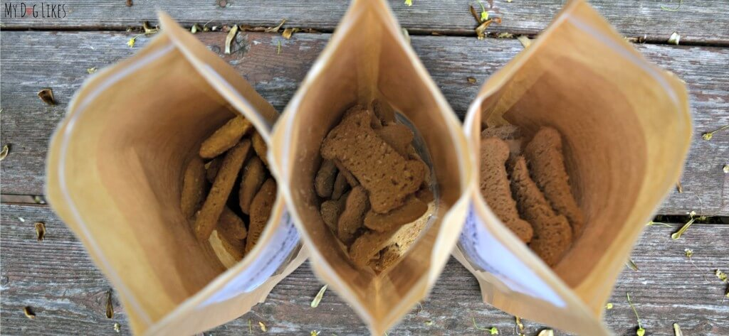 Peeking into our fresh bags of Delightfully Delicious Dog Treats! Click here for the full MyDogLikes review!