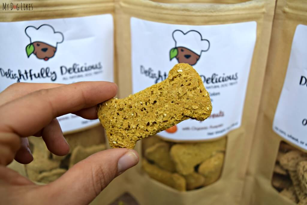 Delightfully Delicious' all natural dog biscuits are crunchy yet light and airy - a big distinction from many other treats on the market!