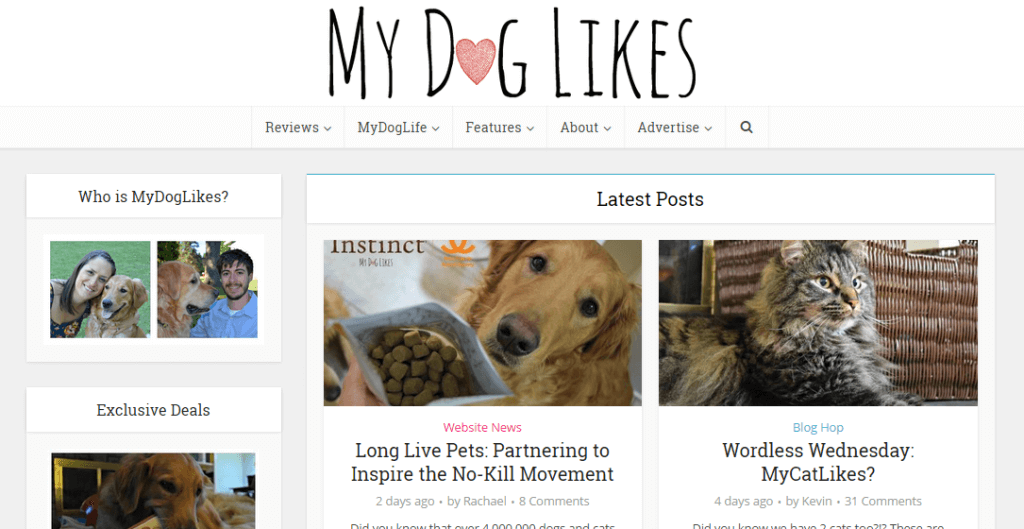 MyDogLikes as it appeared in March of 2015. Loving our new WordPress theme!