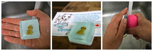 Trying out our pop culture glycerin soap from Come Clean
