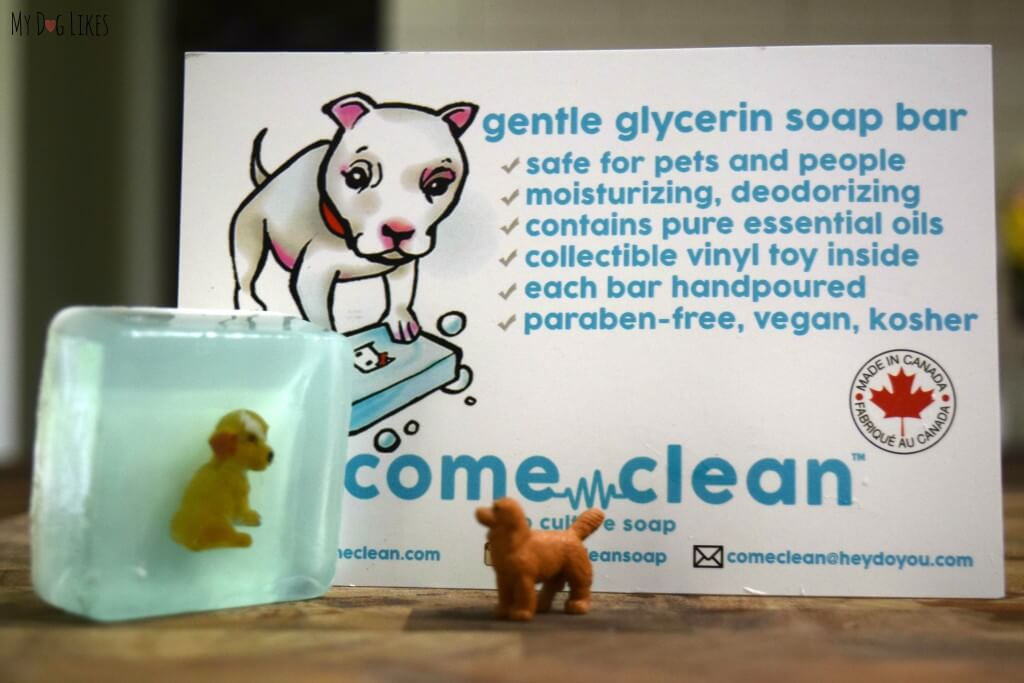 Come Clean soap is safe for pets and comes with an adorable figurine inside!