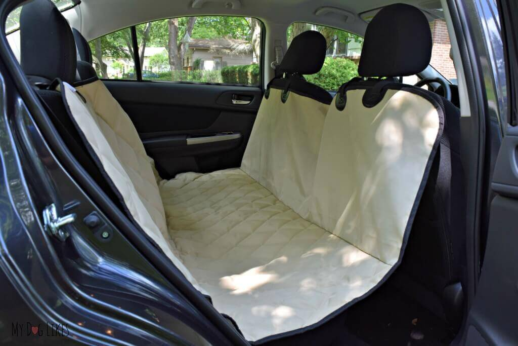 Showing off the hammock style orientation of our 4Knines bench seat cover.