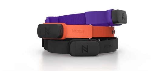 The Nuzzle collar pairs with a smartphone app to provide real-time data.