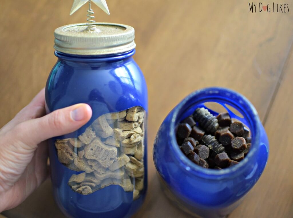 Looking for fun DIY dog projects? See how to make these cute homemade dog treat jars from MyDogLikes!