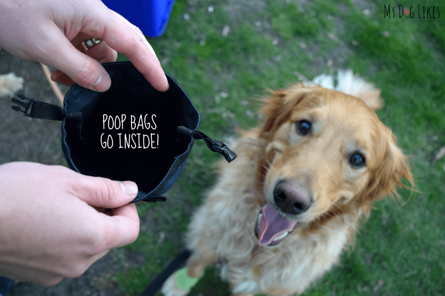 Large opening for dog waste - easily fits multiple bags of poop