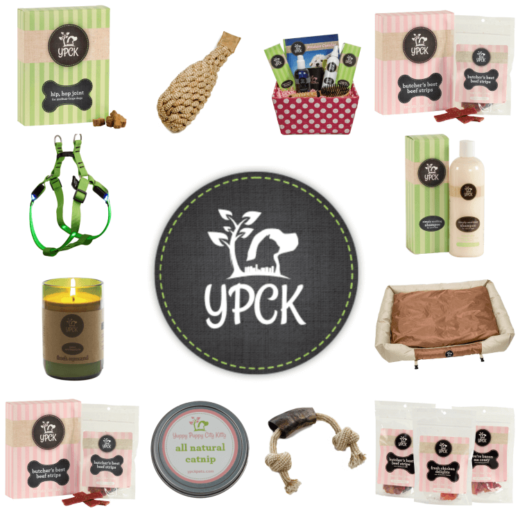 An assortment of pet products from Yuppy Puppy City Kitty