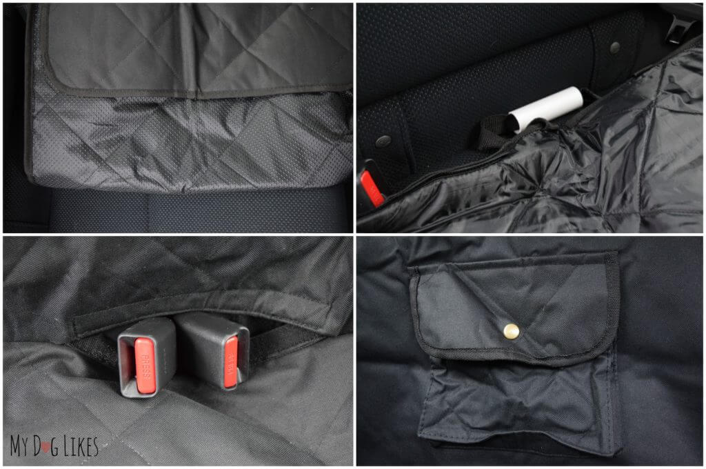 A non-slip backing and built in pockets are just some of the great Travelingpaws seat cover features