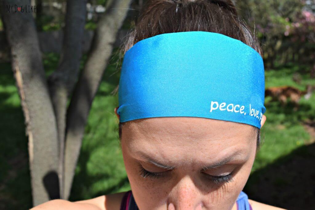 Rocking the Peace Love Paws headband from ZigZev - a Buffalo, NY based startup.