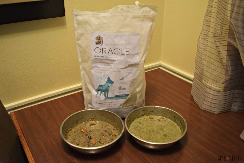Dr. Harvey's Oracle is a freeze dried complete dog food and thus a great option for traveling with pets.