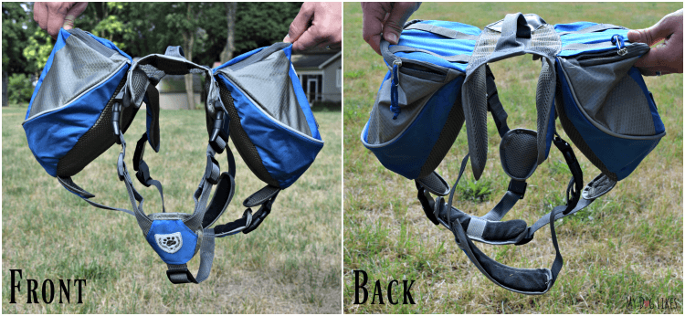 Front and back views of the saddle style dog backpack