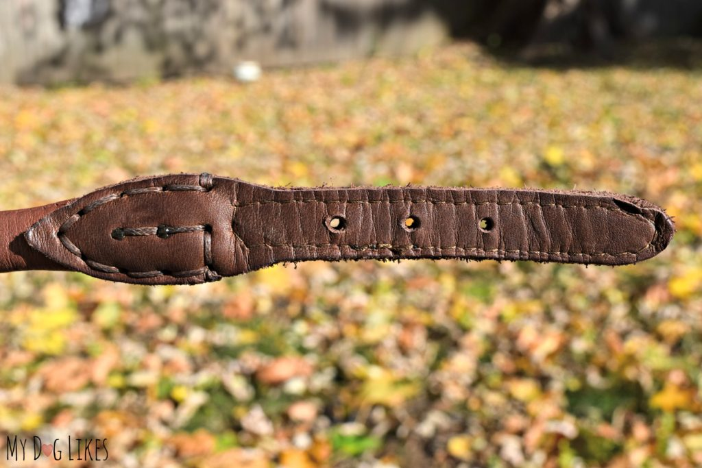 Closeup view of the quality craftsmanship of HUND leather products.