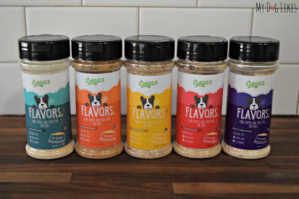 Taking a look at the whole lineup of Basics FLAVORS Food Toppers for dogs