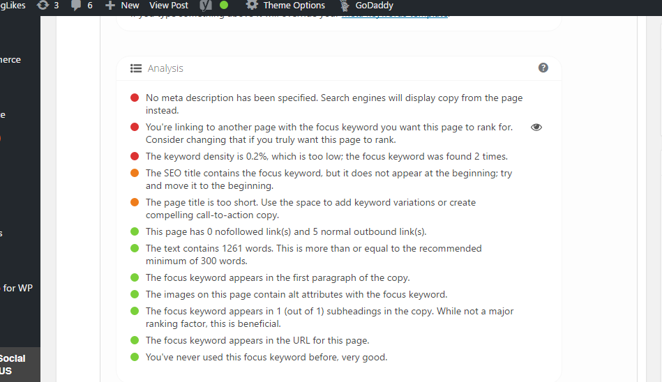 Looking at the page recommendations from the Yoast SEO plugin