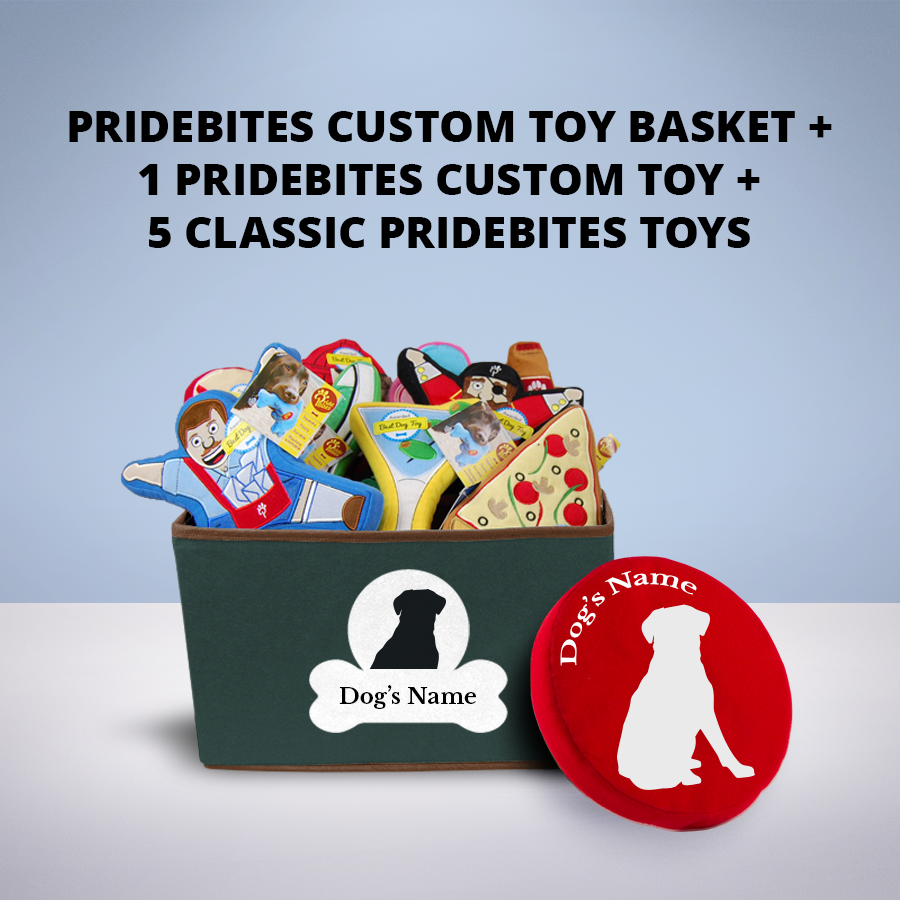 Enter for a chance to win 1 PrideBites custom toy basket, 1 custom dog toy, and 5 classic PrideBites toys