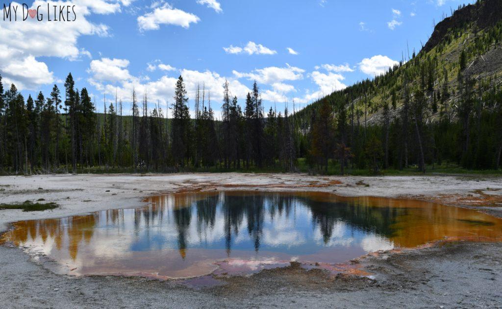 Colorful geyser basins in West Yellowstone