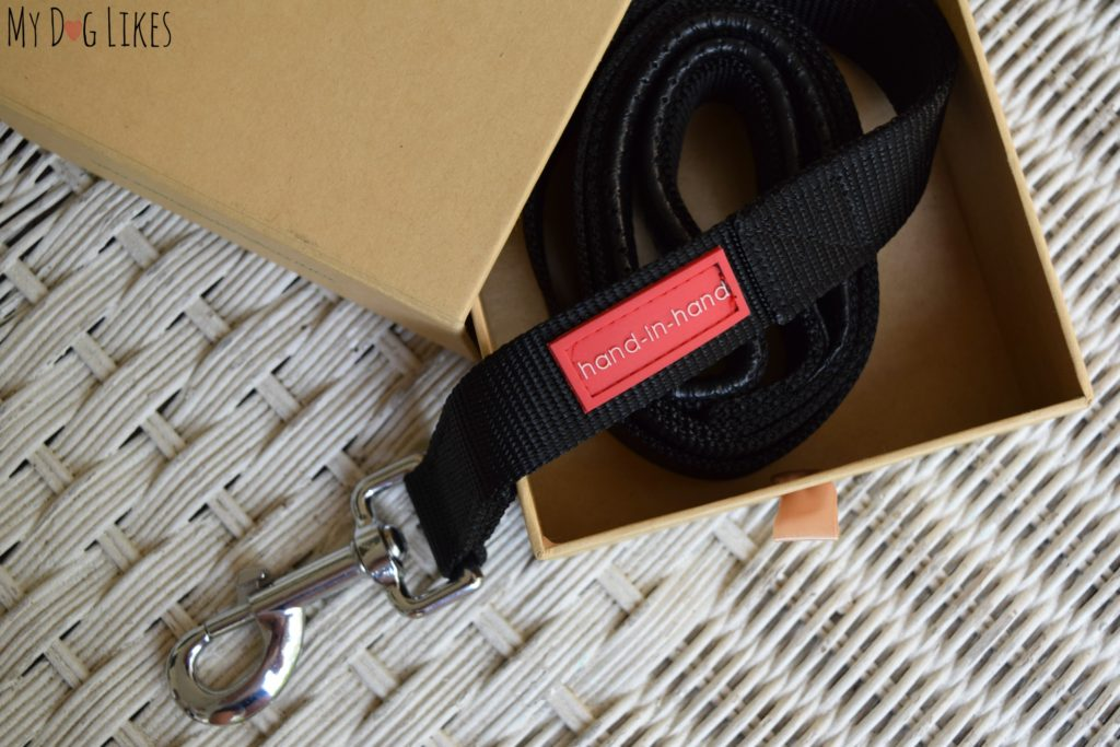 The Hand-in-Hand leash comes packaged neatly in a cardboard box