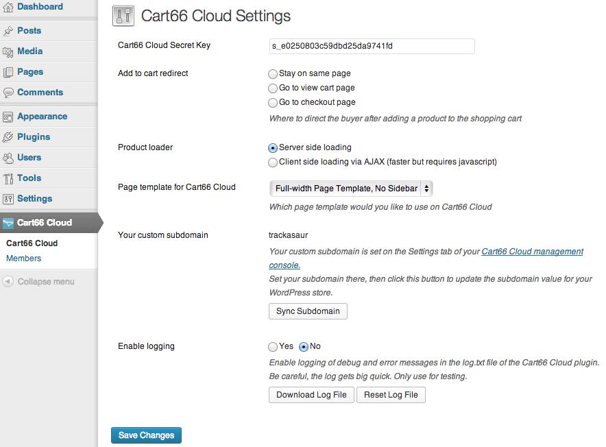 Sell with WordPress   Cart66 WordPress Settings
