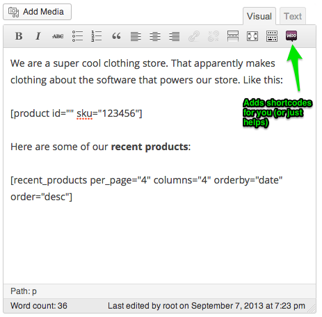 Sell with Wordpress WooCommerce Product Shortcodes Backend