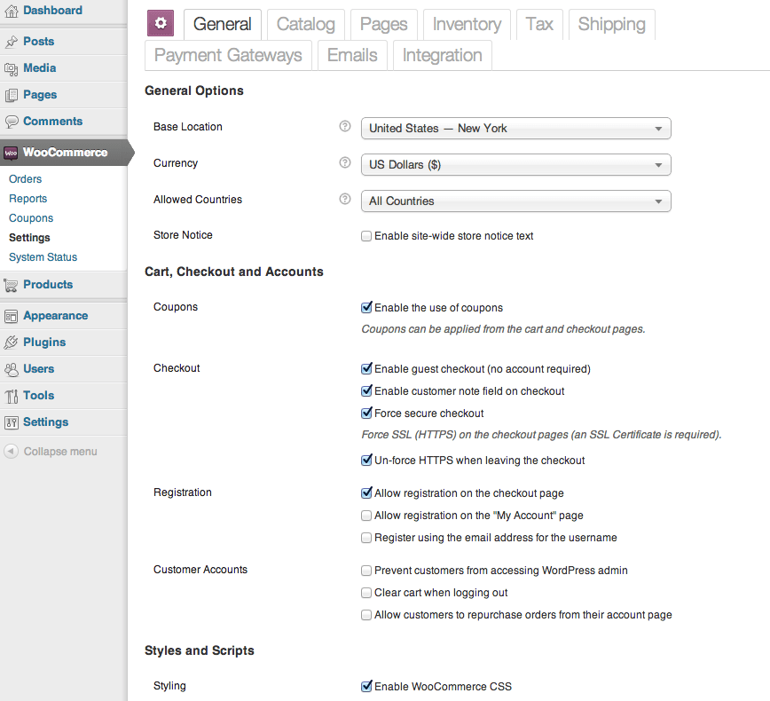 Sell with WordPress WooCommerce Admin Settings