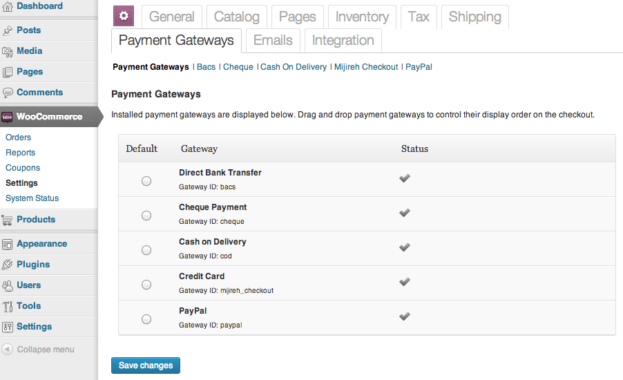 Sell with WordPress WooCommerce Standard Payment Options