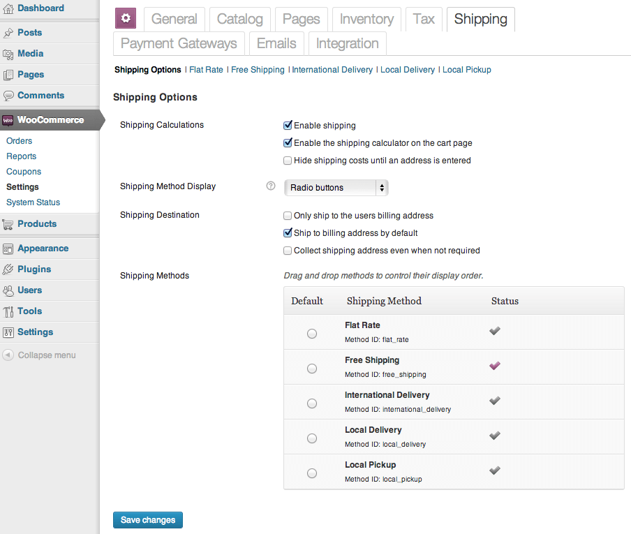 Sell with WordPress WooCommerce Standard Shipping