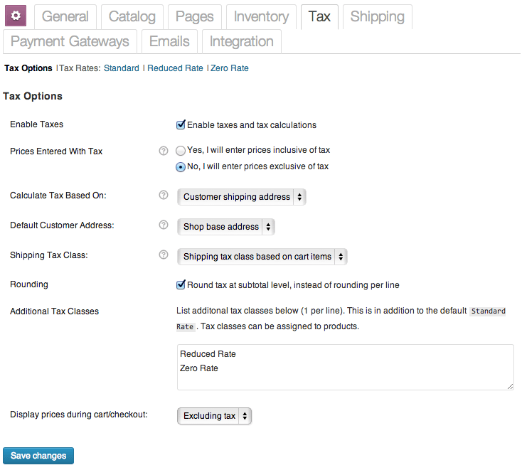 Sell with WordPress WooCommerce Tax Settings