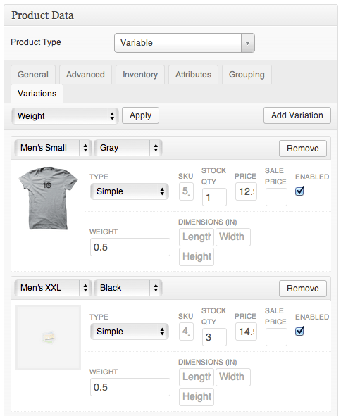 Sell with WordPress | Jigoshop Managing Variations
