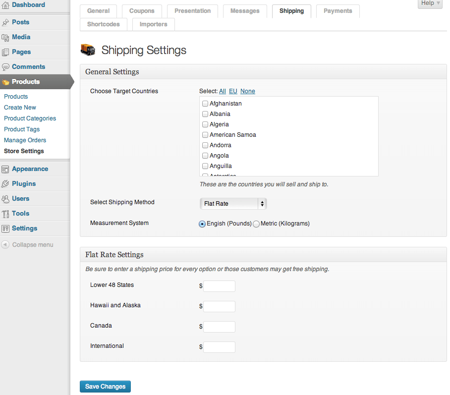Sell with WordPress | MarketPress Lite Shipping Settings