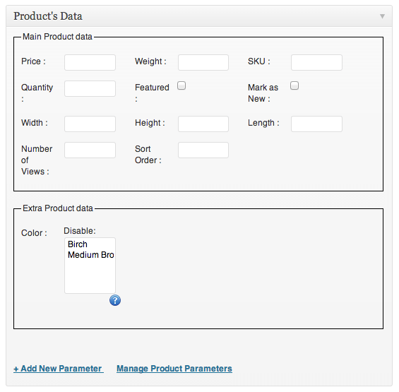 Sell with WordPress | Ready! Cart Product Data