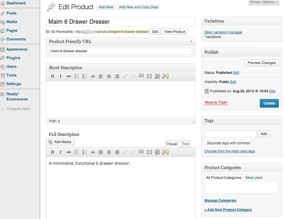 Sell with WordPress | Ready! Cart Product Editor