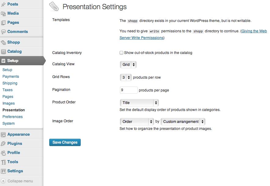 Sell with WordPress | Shopp Presentation Settings