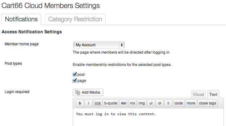 Sell with WordPress | Membership Site with Cart66 Cloud Members Settings