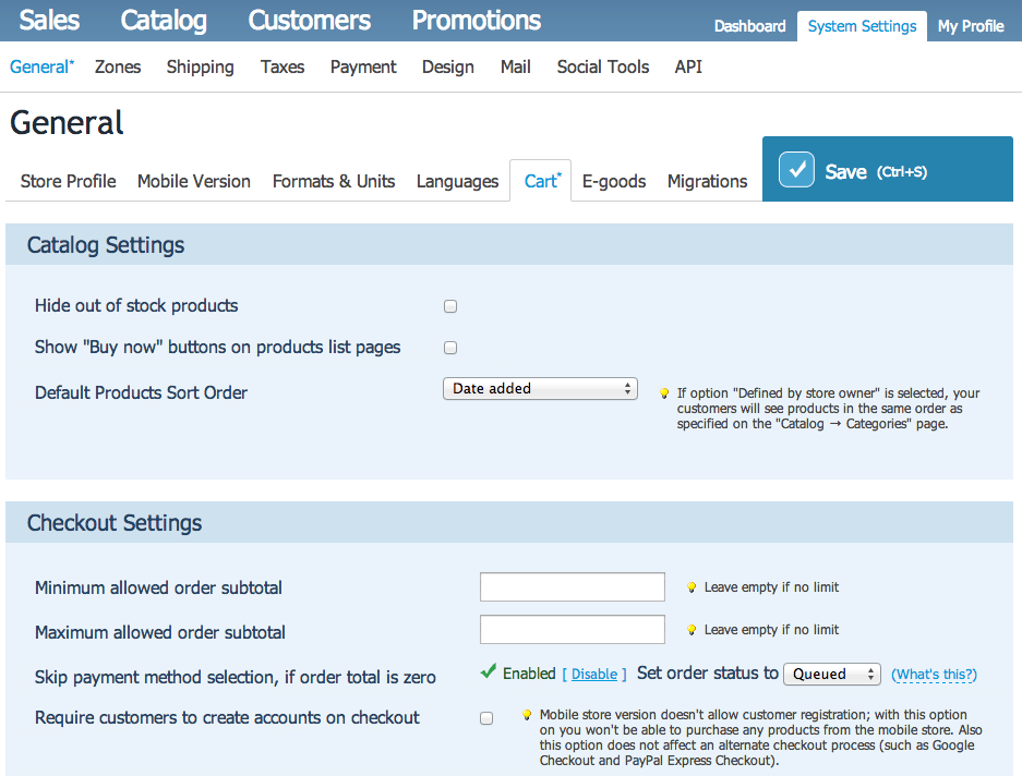 Sell with WP | Ecwid Store Settings