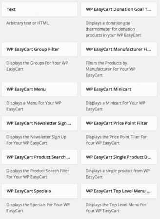 WP EasyCart Built-in Widgets