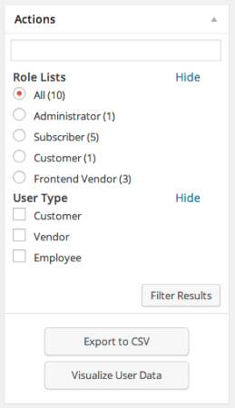 Sell with WP | WP CRM User Filtering