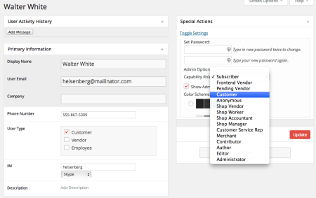 Sell with WP | WP CRM plugin Editing User Profiles