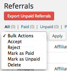 AffiliateWP Review Bulk Referral Actions