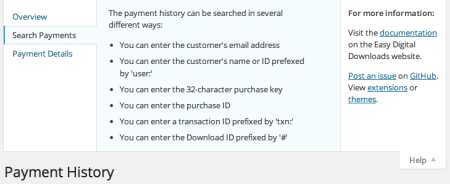 Easy Digital Downloads 2.0 Review | Payments search